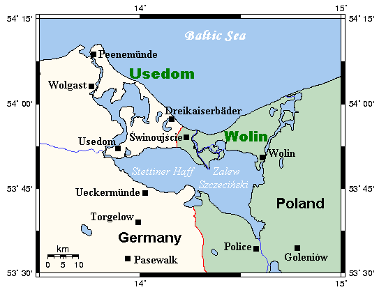 A map of the islands of Usedom and Wolin and environs, Germany/Poland.