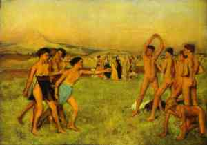 Young Spartans exercising by Edgar Degas
