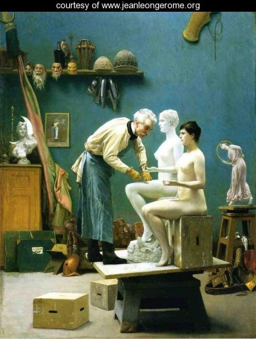 Working in Marble, or The Artist Sculpting Tanagra by Jean-Léon  Gérôme (1890)