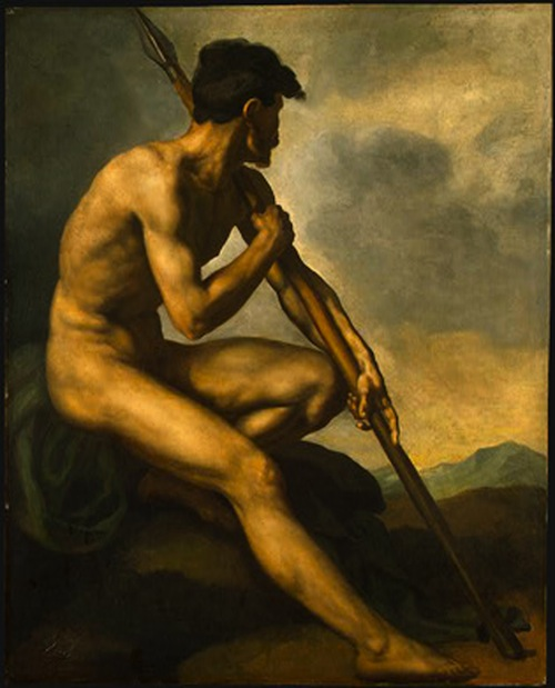 Nude Warrior with Spear by Théodore Géricault (1816)