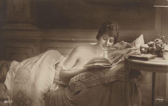vintage seminude woman reading by MementoMori-stock on deviantART