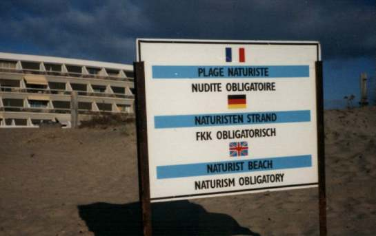 Sign on the beach at Cap d'Agde (Wikimedia Commons)