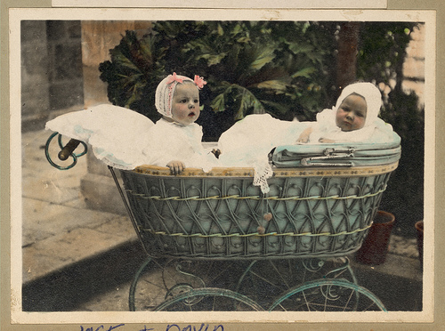 Vintage Portrait of two Babies in an Old Fashioned Antique Baby Carriage Buggy by Beverly & Pack | Flickr - Photo Sharing!