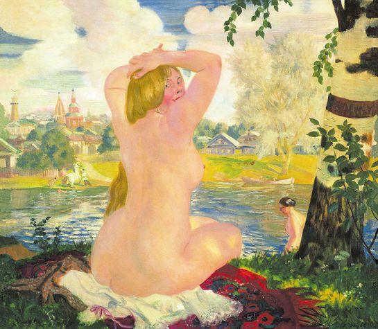 "Boris Kustodiev's painting ""Bathing"" (1921) - Wikimedia Commons"